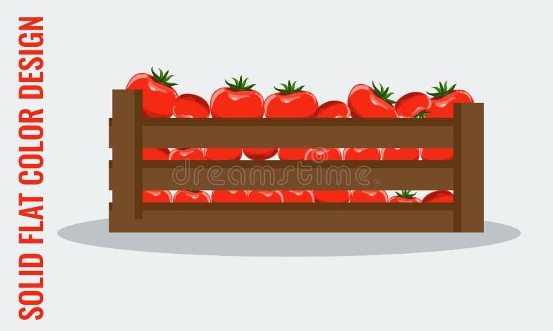 Sappige tomaat Verse groenten in houten krat Vlakke stijlvector royalty-vrije illustratie
