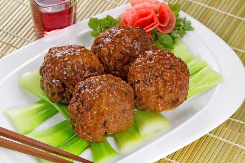 Sappige Vleesballetjes en Groenten met Rode Wijn stock fotografie
