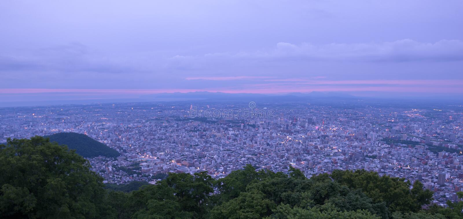 Sapporo city night view from Mount Moiwa stock photos