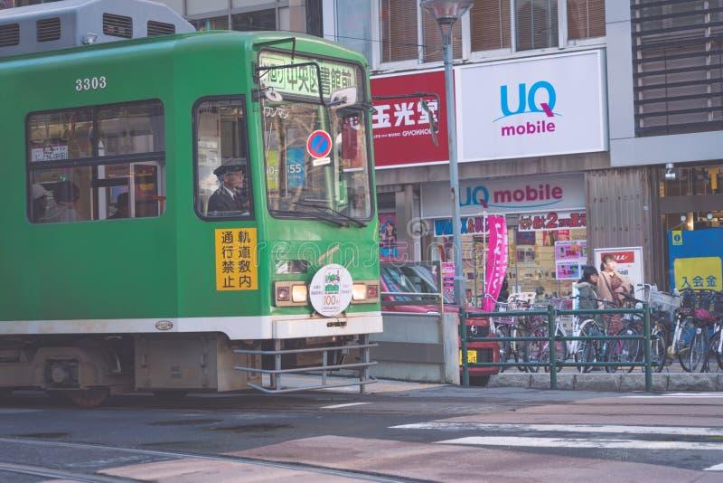 SAPPORO HOKKAIDO, JAPON - NOVEMBRE 2018 : ligne de contournement, voiture publique locale dans la ville de Sapporo photos libres de droits