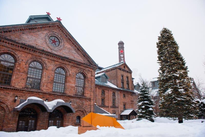 Sapporo, Japón - 14 de enero de 2017: Vista del museo de la cerveza de Sapporo Es el único museo de la cerveza en Japón imágenes de archivo libres de regalías