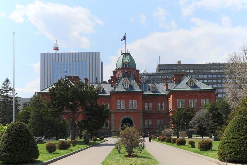 SAPPORO, 25 Japan-April, 2016: Het vroegere Regeringskantoor van Hokkaido stock foto's
