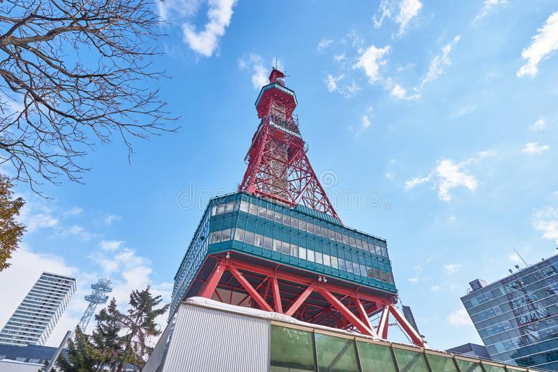 A beautiful scenic of Sapporo TV tower in winter at Sapporo city, Hokkaido. royalty free stock photos