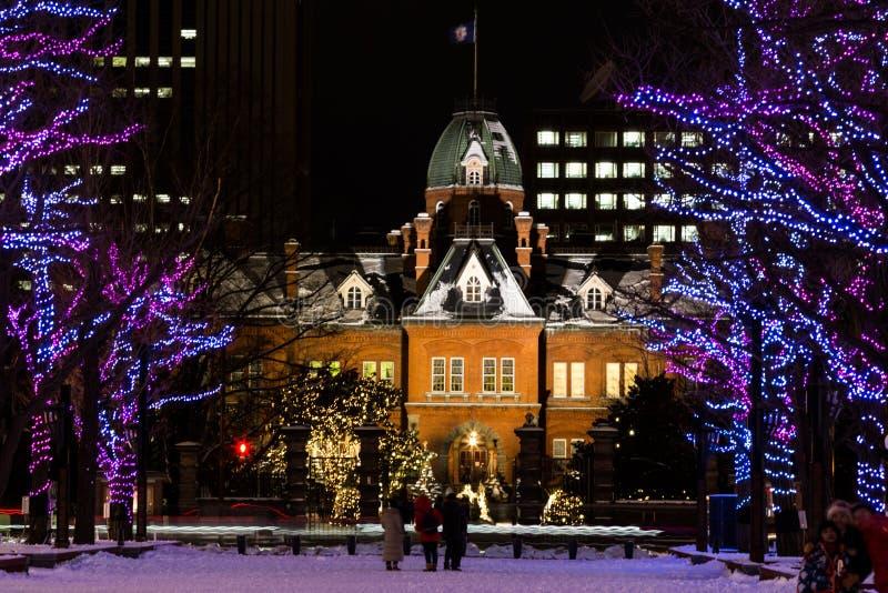 Sapporo, Japan, 28 Januari, 2018: De rode baksteen vroeger Hokkaido stock foto's