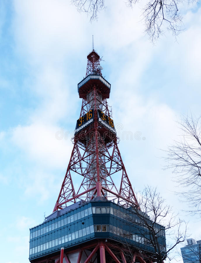 Sapporo, Japan - january 20, 2017 : View of the Sapporo TV Tower stock photography