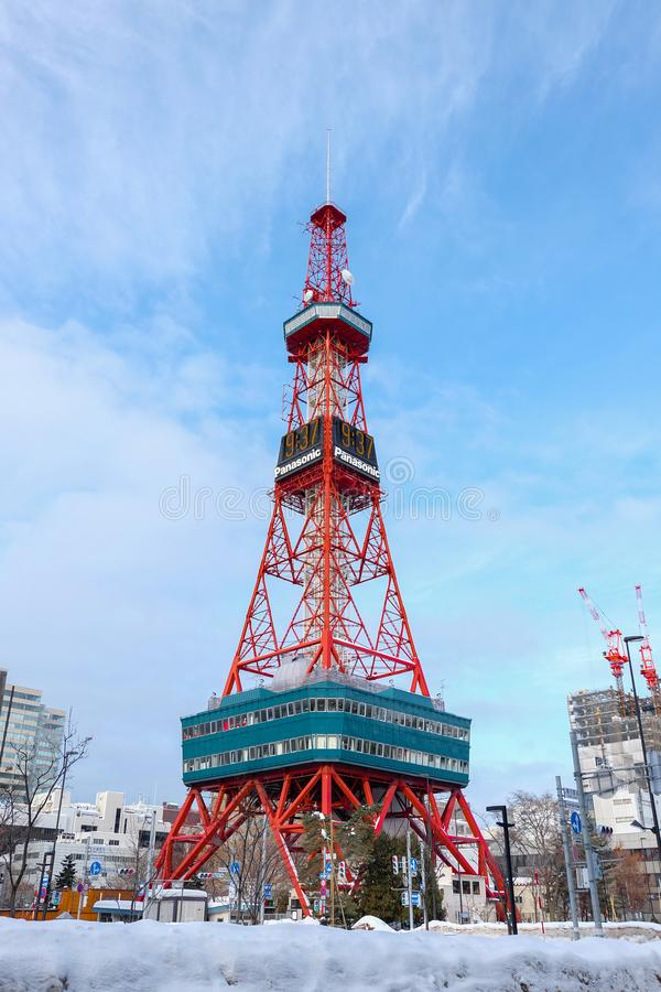 Sapporo, Japan - january 20, 2017 : View of the Sapporo TV Tower snow in winter in Sapporo, Hokkaido, Japan stock images