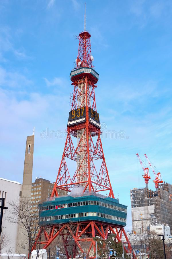 Sapporo, Japan - january 20, 2017 : View of the Sapporo TV Tower snow in winter in Sapporo, Hokkaido, Japan stock photo