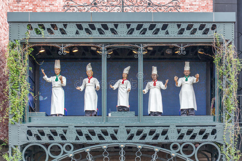 Sapporo, Japan 4 Juni, 2016 Chef-kok modeldecoratie in Ishiya CH stock afbeelding