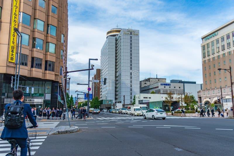 Sapporo, Japan 27. September 2018: Straßenansichtbild von Sapporo lizenzfreies stockbild