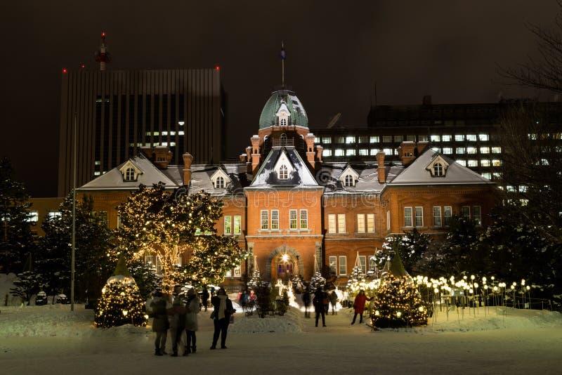 Sapporo, Japonia, Styczeń 28, 2018: Czerwonej cegły poprzedni hokkaido zdjęcia royalty free