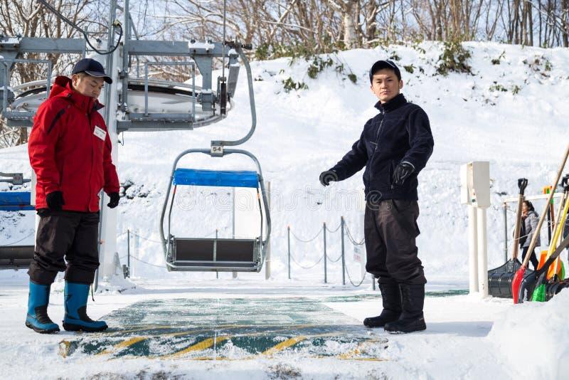 Sapporo, Japonia, Styczeń 28, 2018: Okurayama Skacze Narciarskiego Observa obrazy royalty free