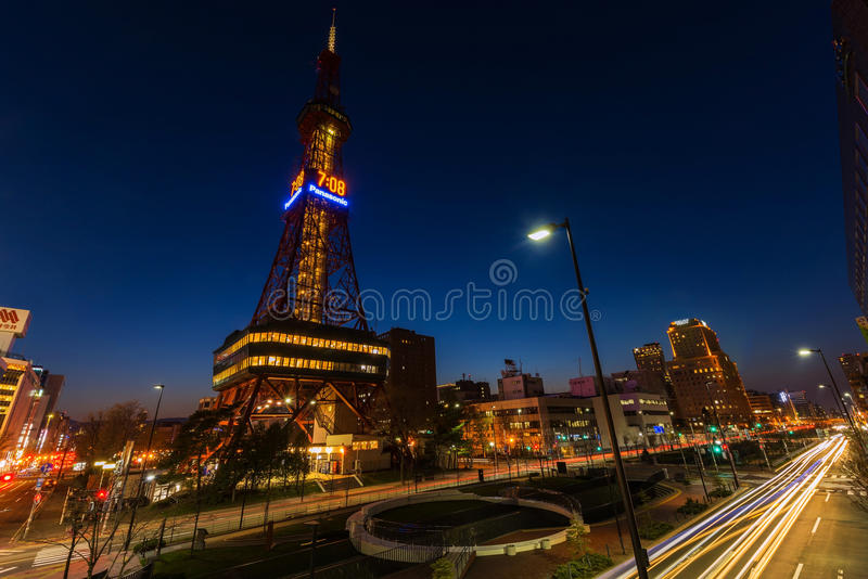 Sapporo TV Tower at dusk. SAPPORO, JAPAN - APRIL 24, 2016: Sapporo TV Tower at dusk near Odori Park. The 147.2 meter high tower has an observation deck open to royalty free stock photo