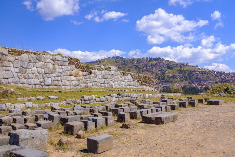 Saqsaywaman Inca Ruins au Pérou images libres de droits