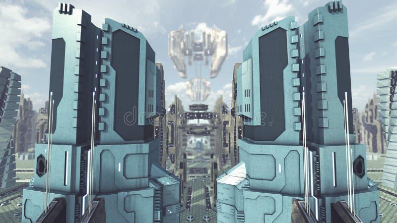 Saque de una ciudad futurista del scifi representación 3d libre illustration