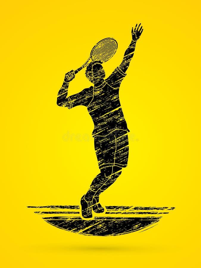 Saque do jogador de tênis do homem ilustração do vetor