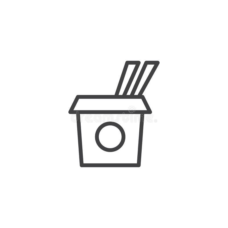 Saque el icono del esquema de la caja stock de ilustración