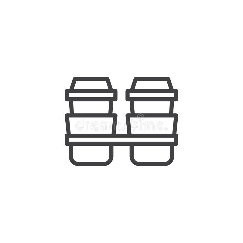 Saque el icono del esquema de la taza de café ilustración del vector
