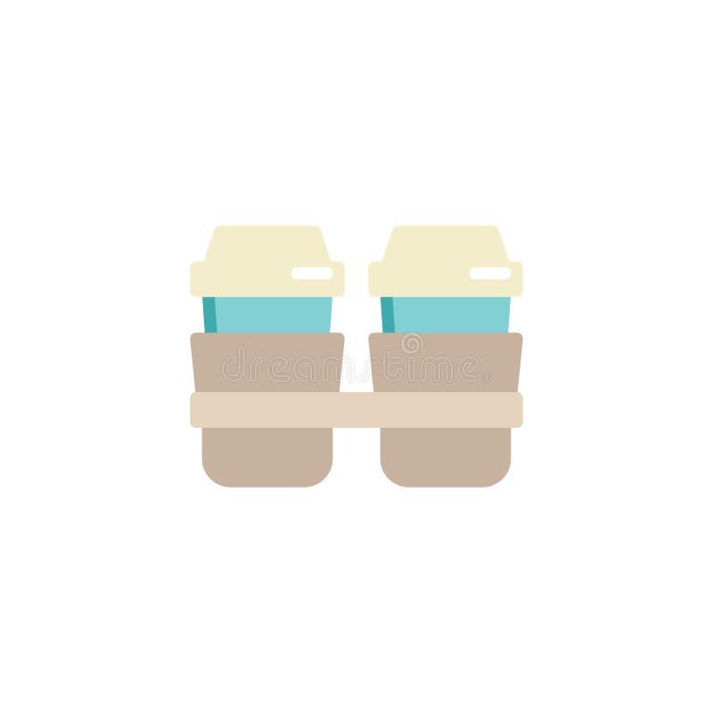 Saque el icono plano de la taza de café stock de ilustración