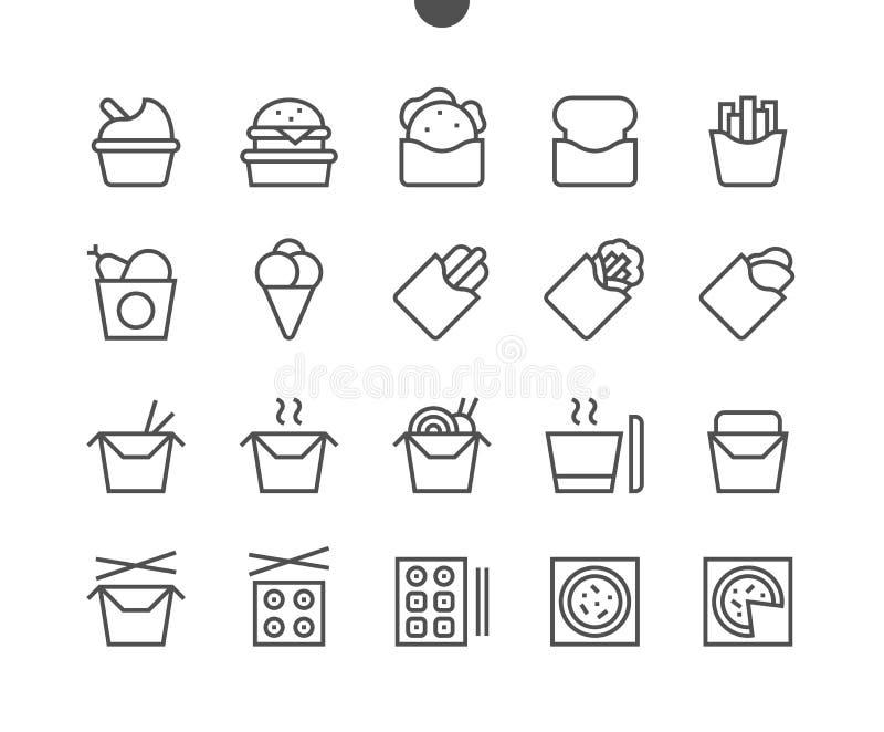 Saque el pixel de UI que el vector Bien-hecho a mano perfecto alinea ligeramente los iconos 48x48 listos para la rejilla 24x24 pa ilustración del vector