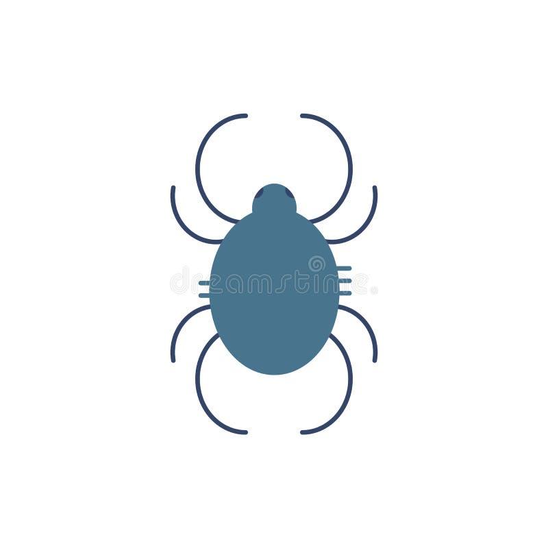 Saque el polvo del símbolo del ácaro - disparador de la alergia y del asma a lo largo de todo el año en estilo plano stock de ilustración