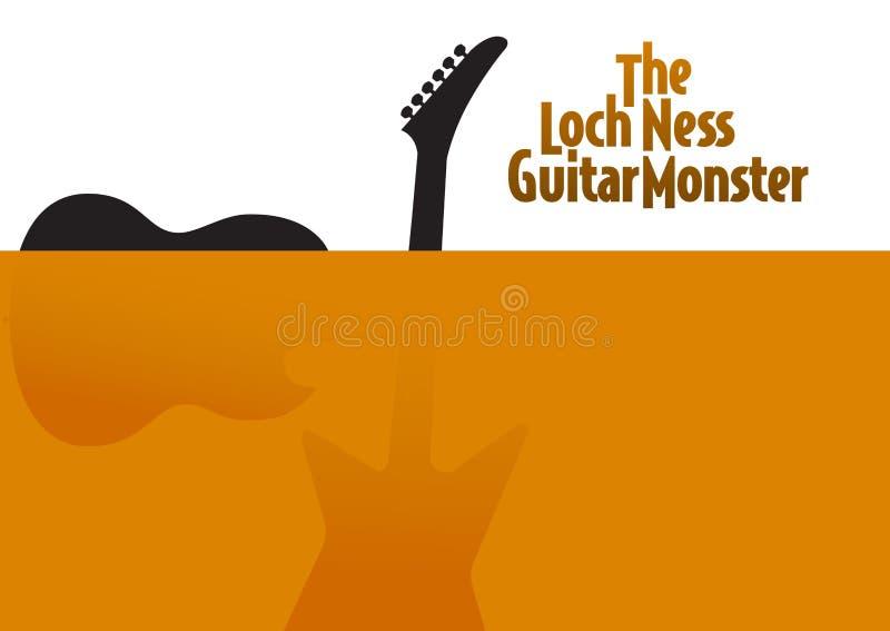 Saque en el cartel de la guitarra de Ness Monster del lago stock de ilustración