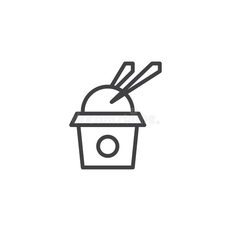 Saque la caja con el icono del esquema del arroz y de los palillos stock de ilustración