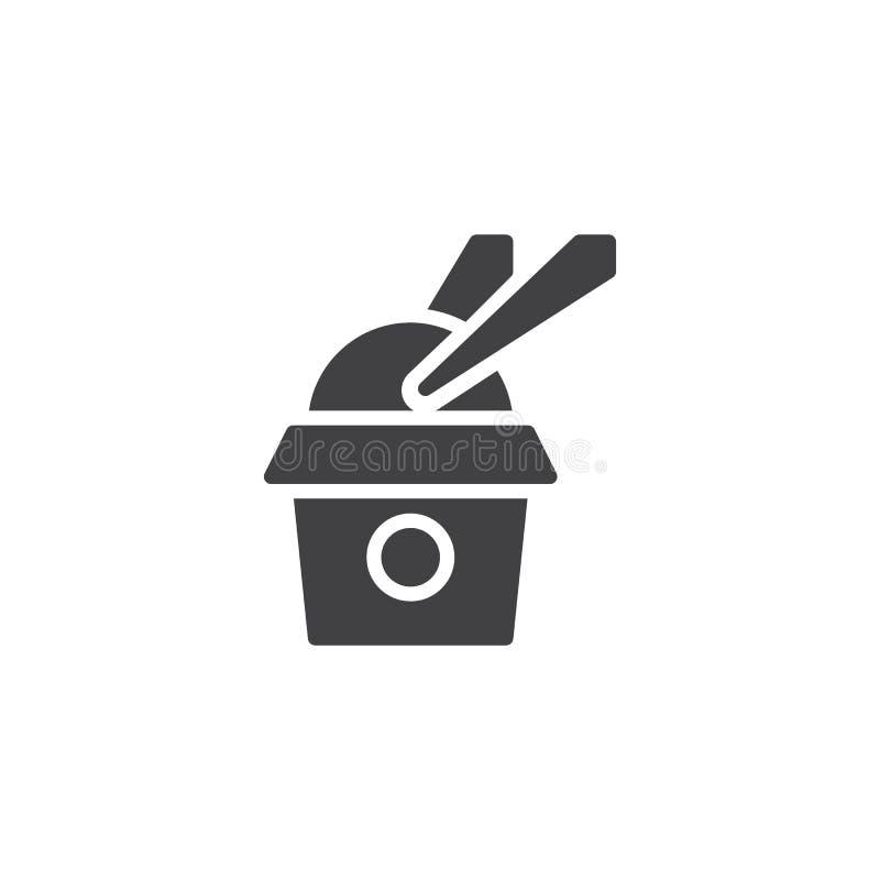 Saque la caja con el icono del vector del arroz y de los palillos stock de ilustración
