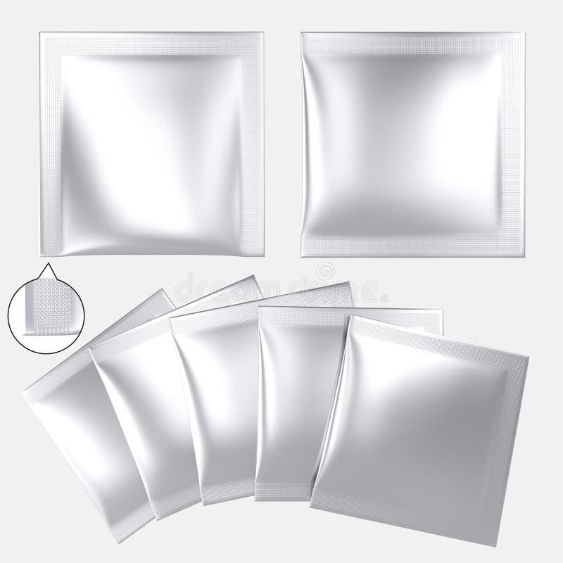 Saquinho plástico vazio do pó da folha de prata ilustração do vetor