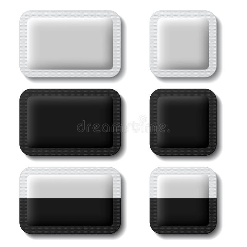 Saquinho que empacota o branco preto ilustração do vetor