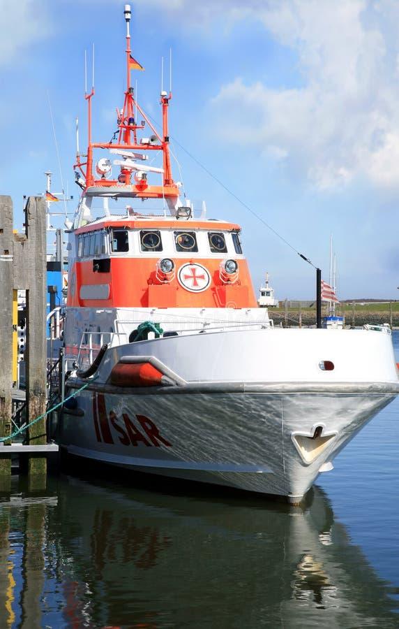 SAR boat on the port. North Sea. royalty free stock photo