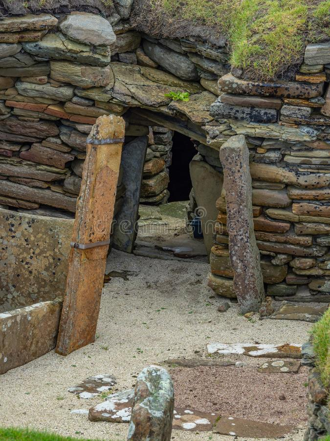 Skara Brae, Scottish Pompeii. Orkney, Scotland. Sara Brae, Scottish Pompeii, stone-built Neolithic settlement on the Bay of Skaill. Eight clustered houses royalty free stock image