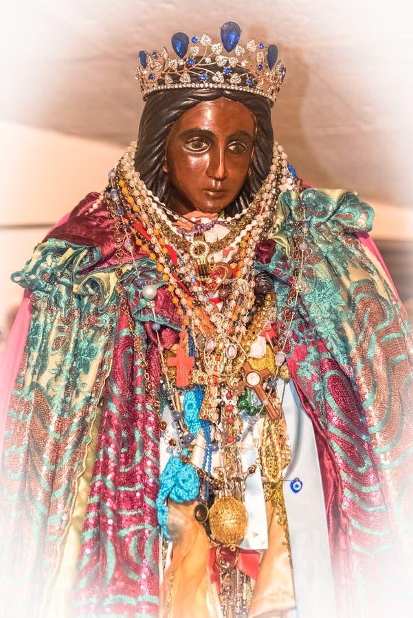 Sara la noire, black virgin statue. En the church, Saintes-Marie-de-la-Mer in Camargue stock photos