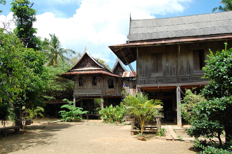 saraburi的泰国古老地方房子 库存图片