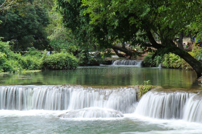 Swimming area of small waterfall as Namtok Chet Sao Noi in National Park. Saraburi, Thailand ,July 28 ,2018,Take photo at swimming area of small waterfall as stock images