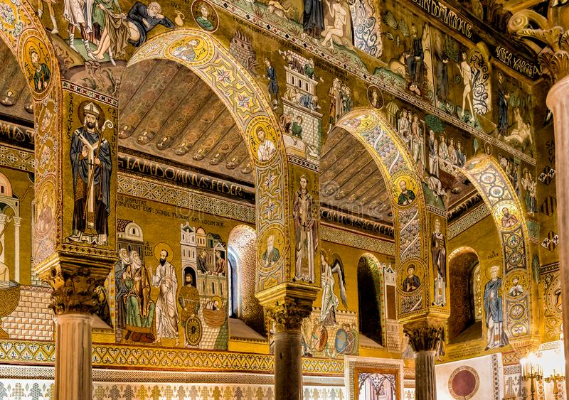 Saracen arches and Byzantine mosaics within Palatine Chapel of the Royal Palace in Palermo. Sicily, Italy stock photography