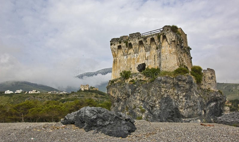 Saracen watch tower. In south of italy stock images