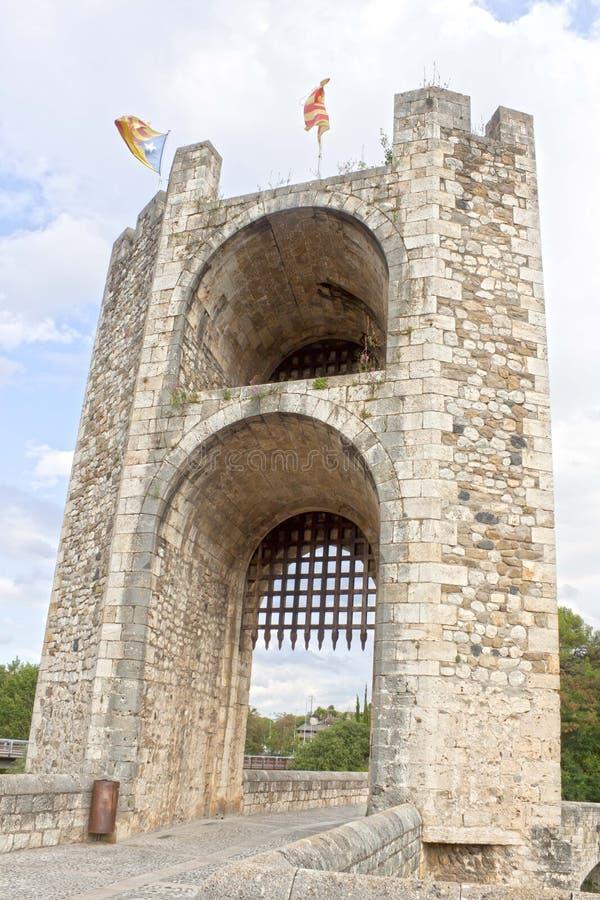 Saracinesca di un portone con la bandiera dell'indipendenza immagine stock libera da diritti