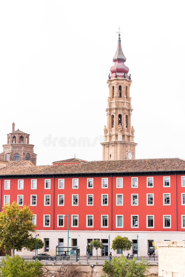 SARAGOSSA, SPAIN - SEPTEMBER 27, 2017: The Cathedral of the Savior or Catedral del Salvador. Copy space for text. Vertical. stock photo