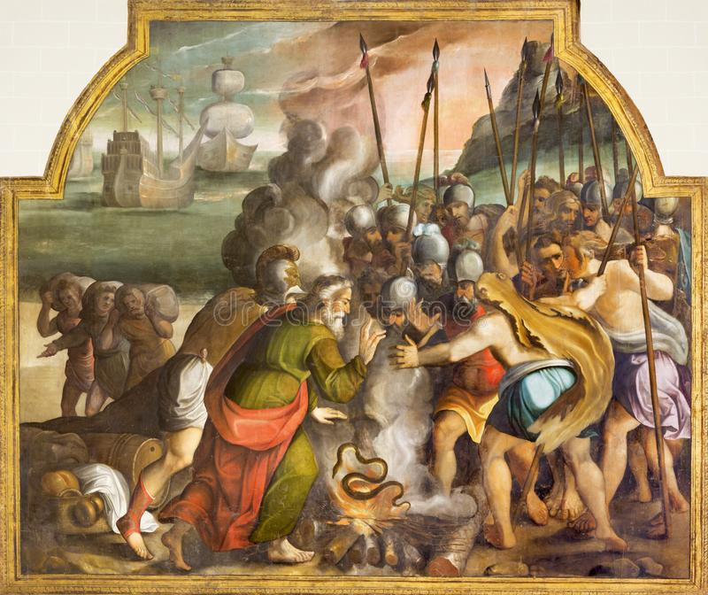 SARAGOSSA, SPANIEN - 3. MÄRZ 2018: Die biblische Szene mit St Paul und der Viper in Malta in der Kirche Iglesia de San Pablo lizenzfreie stockfotos