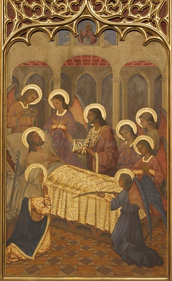 SARAGOSSA, SPANIEN - 1. MÄRZ 2018: Die neogothic Malerei des Todes von St Joseph in der Kirche Iglesia Del Sagrado Corazon de Jes lizenzfreies stockfoto
