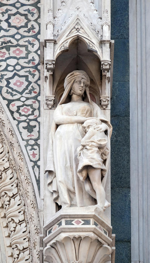 Sarah and Isaac, Portal of Florence Cathedral. Sarah and Isaac, Portal of Cattedrale di Santa Maria del Fiore Cathedral of Saint Mary of the Flower, Florence stock photos