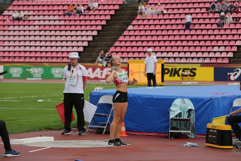 SARAH LAGGER ÖSTERRIKE, på heptathlonhändelse i mästerskapet Tammerfors för IAAF-värld U20, Finland 12th fotografering för bildbyråer
