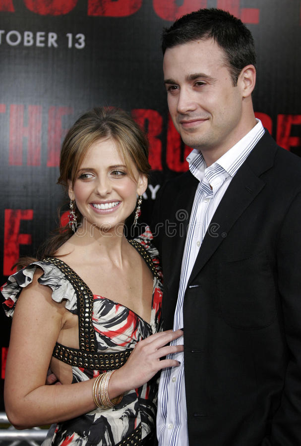 Sarah Michelle Gellar and Freddie Prinze Jr. At the Los Angeles premiere of `The Grudge 2` held at the Knott`s Scary Farm in Buena Park, United States on stock images