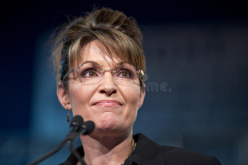 Sarah Palin. MESA, AZ - MARCH 27: Former Republican Vice Presidential candidate Sarah Palin addresses voters at a re-election rally in support of Arizona Senator royalty free stock photo