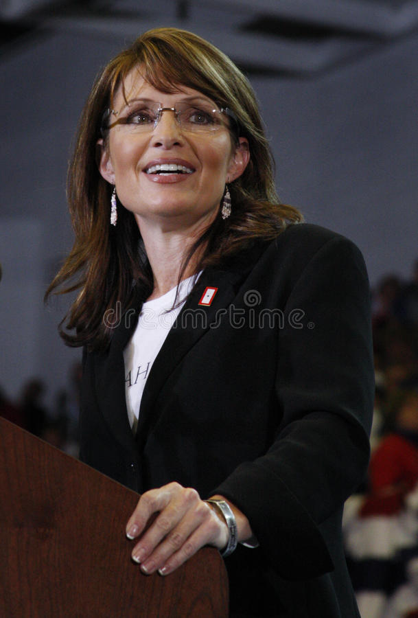 Sarah Palin. A scene from a political rally of Republican Sarah Palin speaking at the podium stock photography
