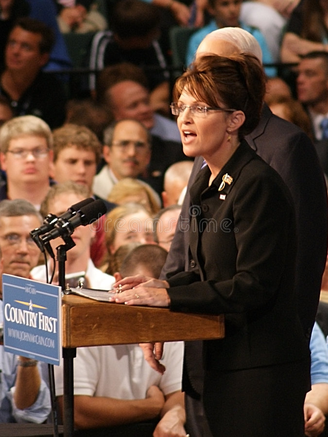 Sarah Palin in Dayton Ohio. Closeup view of Republican Vice Presidential candidate Sarah Palin, in Dayton, Ohio at Wright State University's Nutter Center August stock images
