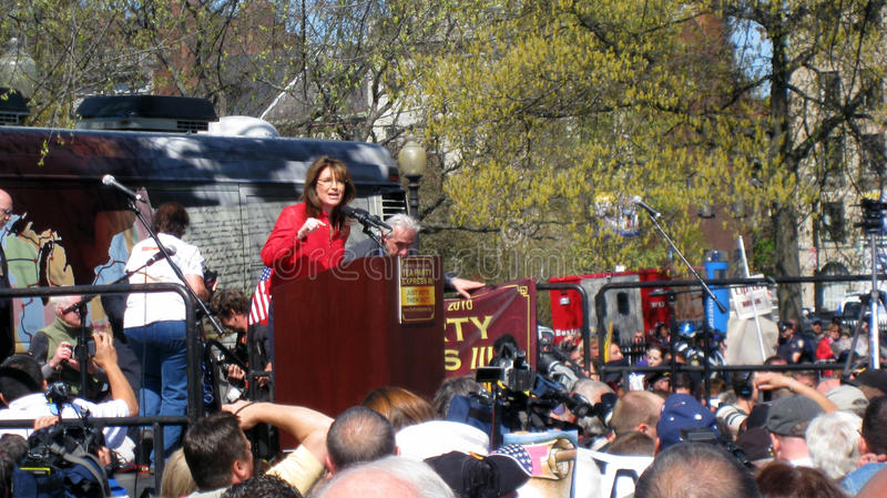 Sarah Palin a raduno del partito di tè a Boston fotografie stock libere da diritti