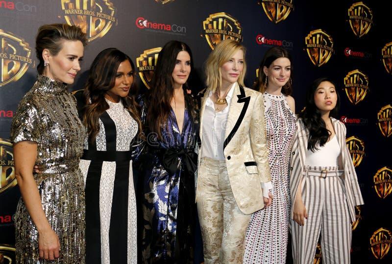 Sarah Paulson, Mindy Kaling, Sandra Bullock, Cate Blanchett, Anne Hathaway en Awkwafina stock afbeelding