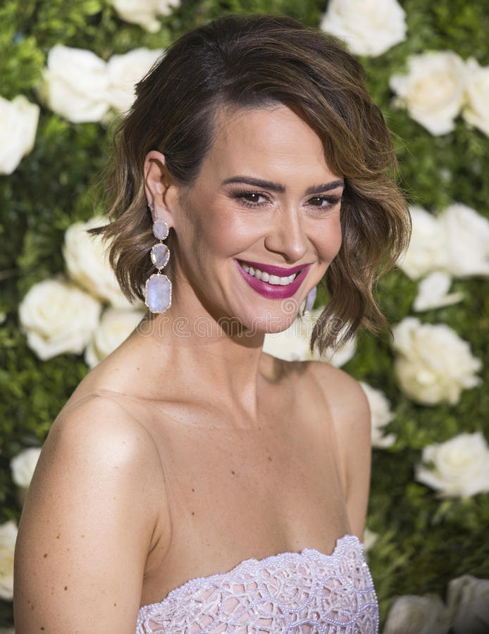 Sarah Paulson. Previous Tony winner Sarah Paulson arrives at the 71st Annual Tony Awards celebrating achievement and excellence in Broadway dramas stock images