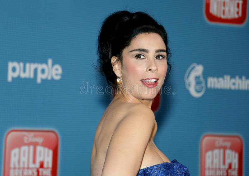 World premiere of `Ralph Breaks The Internet`. Sarah Silverman at the World premiere of `Ralph Breaks The Internet` held at the El Capitan Theatre in Hollywood royalty free stock image